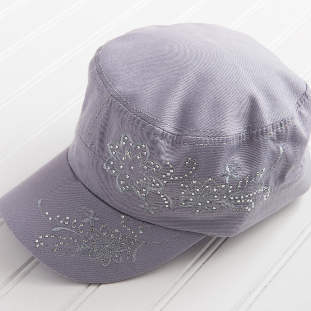 Tiny Floral Embroidered with Sparkle Hat - Light Gray