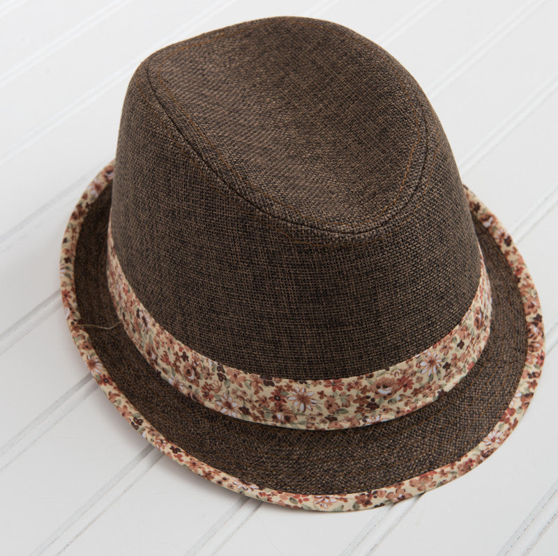 Fedora with Floral Patterned Trim - Brown