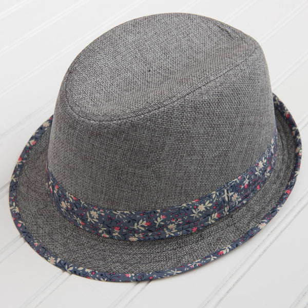 Fedora with Floral Patterned Trim - Gray