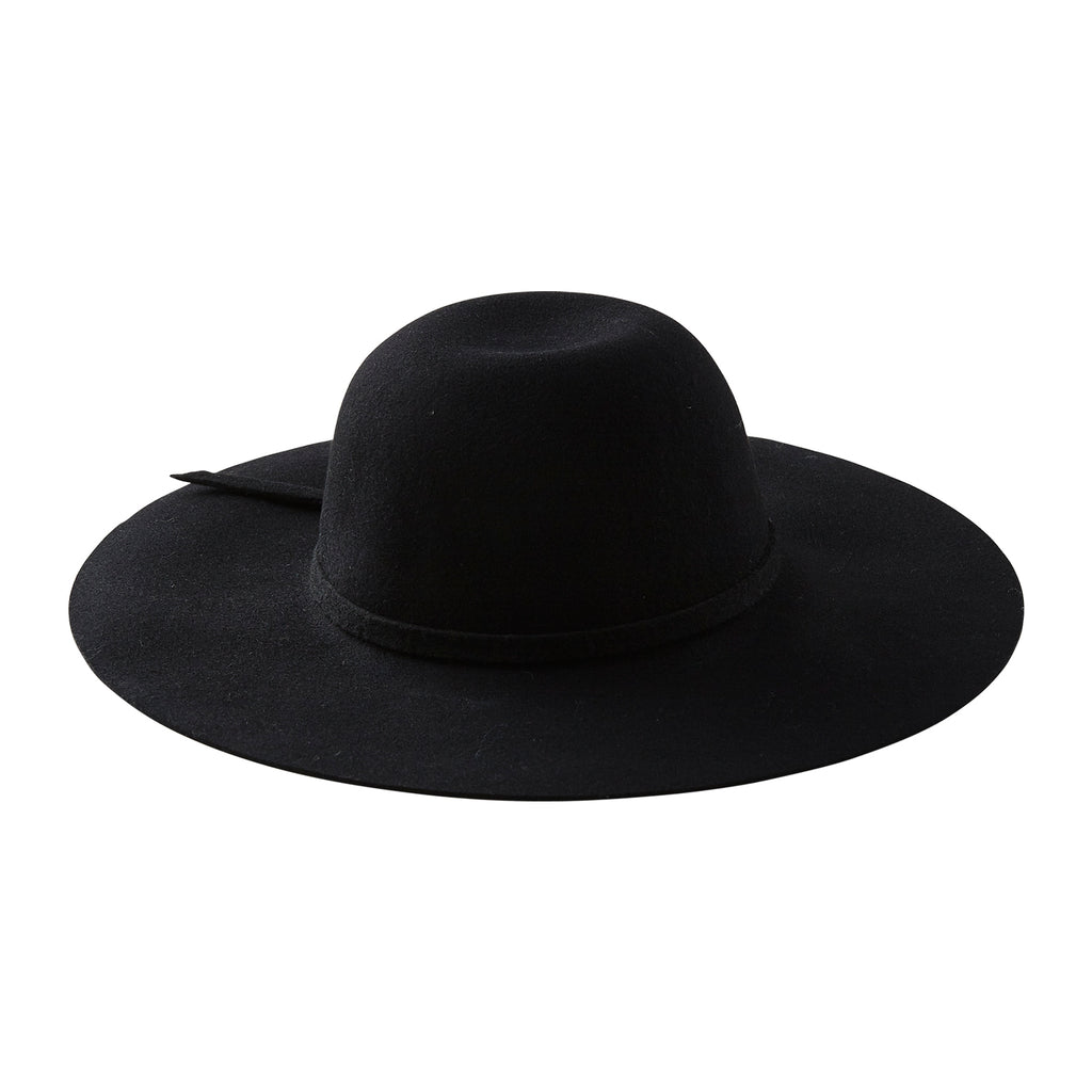 Floppy Wide Brim Wool Hat - Black