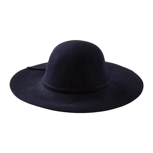 Floppy Wide Brim Wool Hat - Navy