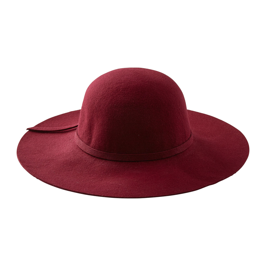 Floppy Wide Brim Wool Hat - Wine