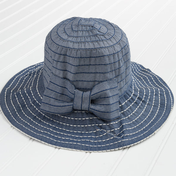 Classic Garden Hat with Bow - Blue