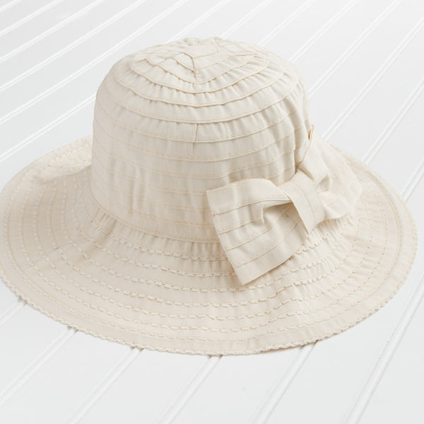 Classic Garden Hat with Bow - Cream