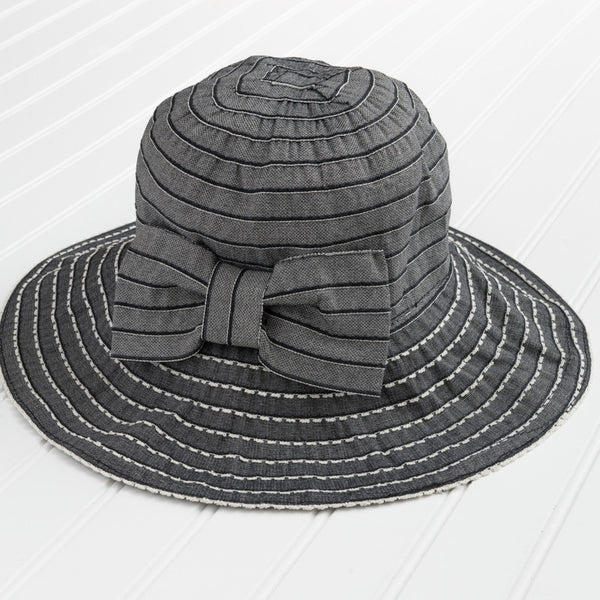 Classic Garden Hat with Bow - Dark Gray