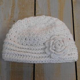 Knit Cap with Rose - Cream