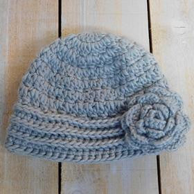 Knit Cap with Rose - Gray