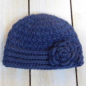 Knit Cap with Rose - Navy