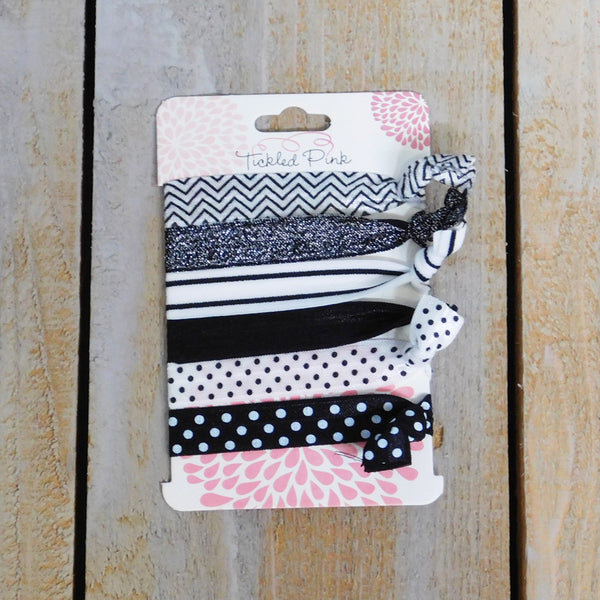 Stretch Hair Ties - Black and White