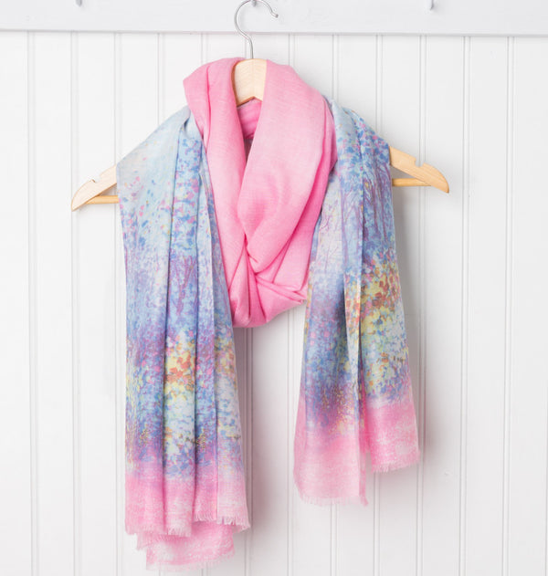 Monet Impressionistic Scarf - Blue/Pink