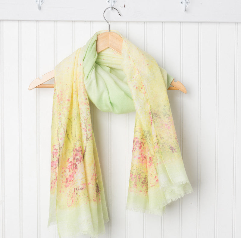 Monet Impressionistic Scarf - Lime/Yellow