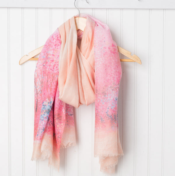 Monet Impressionistic Scarf - Pink/Orange