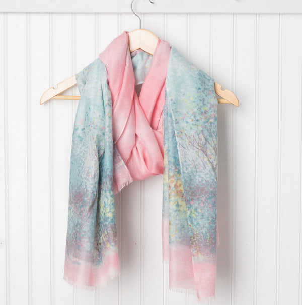 Monet Impressionistic Scarf - Teal/Pink