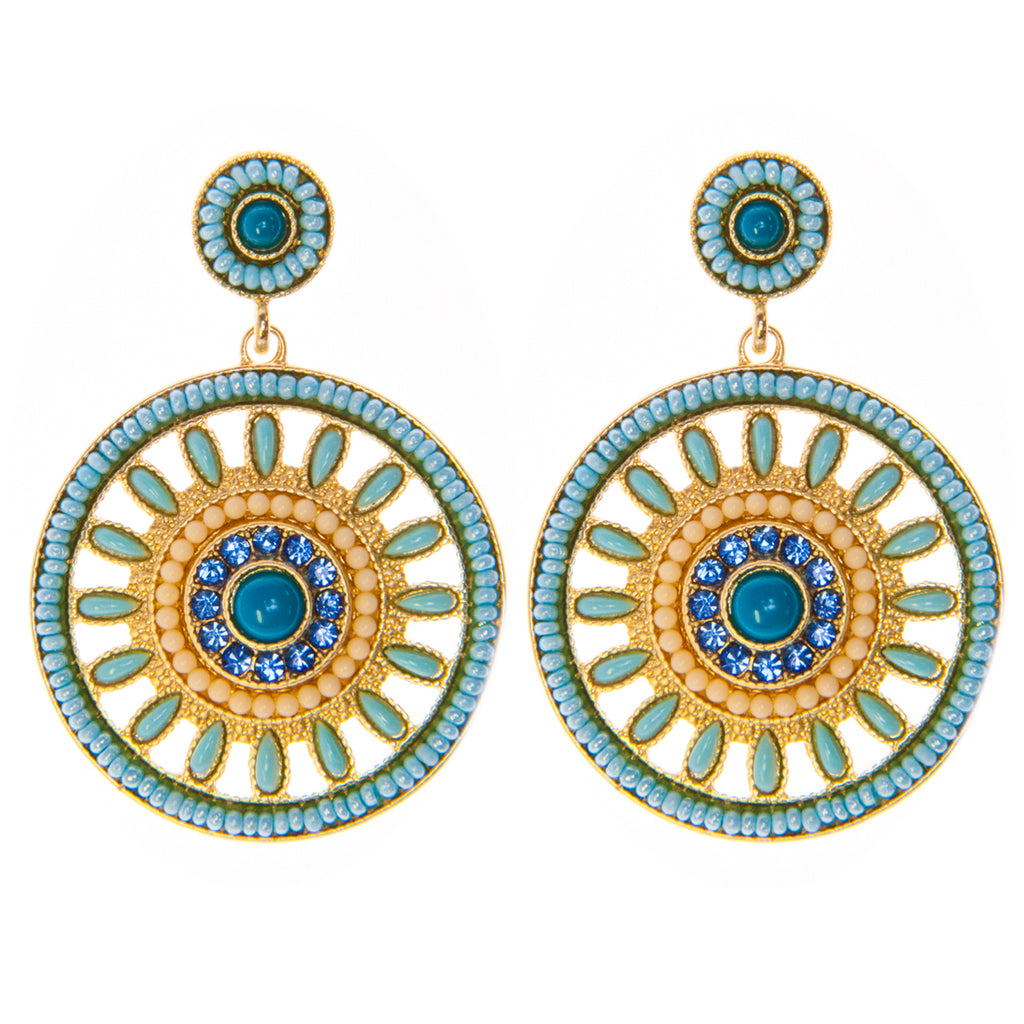 Blue Holly Medallion Earrings