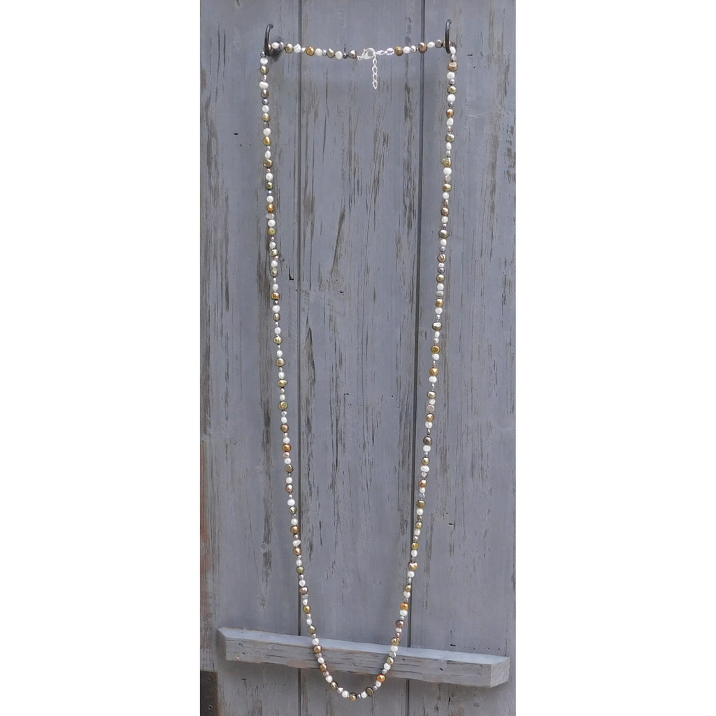 Long Pearl Necklace with 2 sizes of Pearls