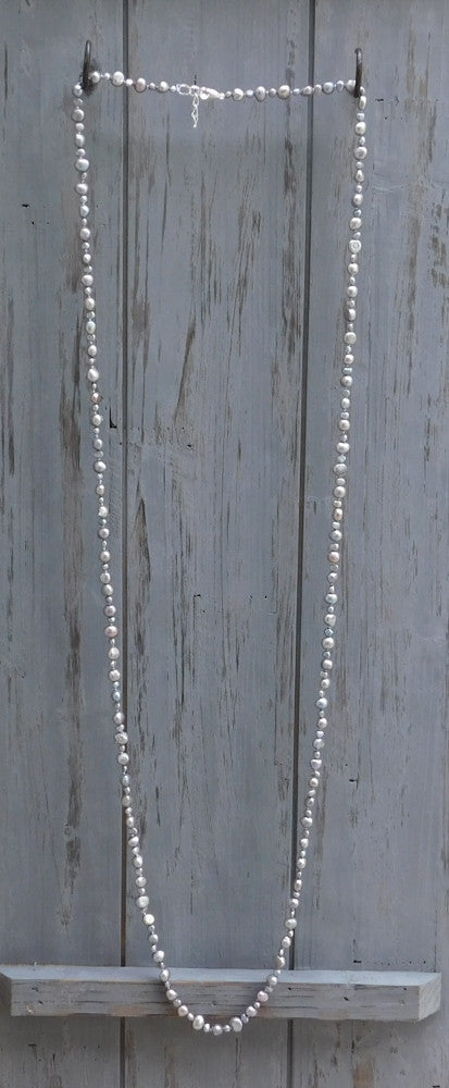 Long Pearl Necklace with 2 sizes Pearls - Silver