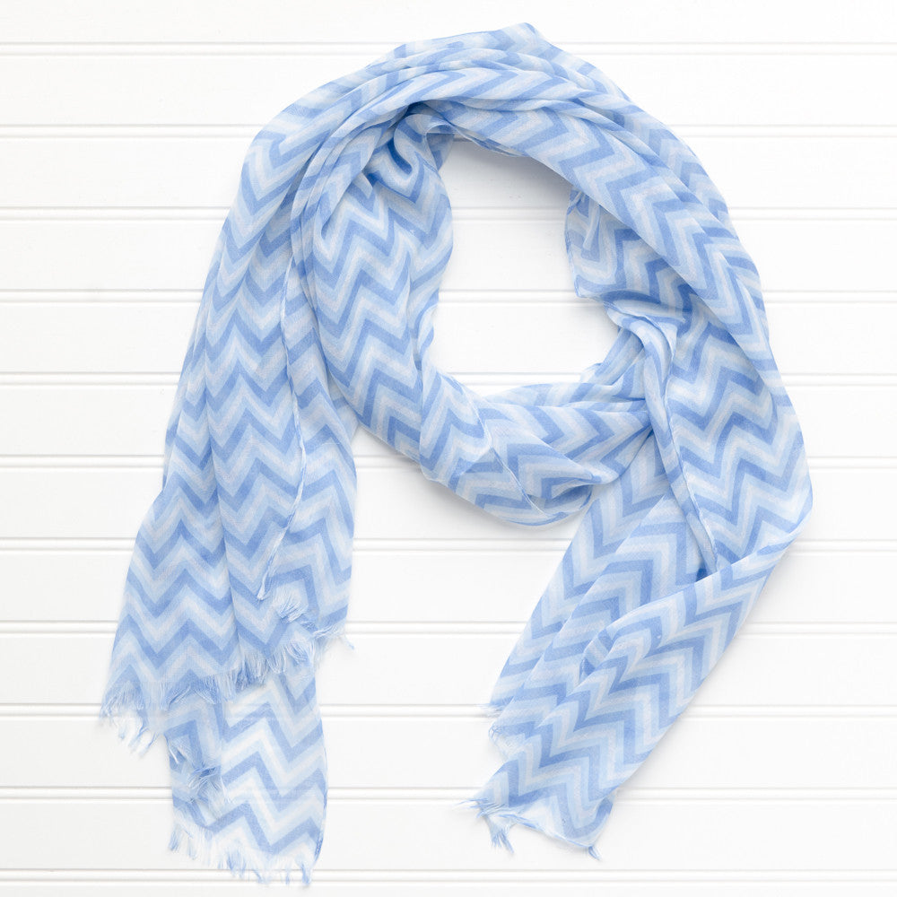 ZigZag Fringed Scarf - Light Blue