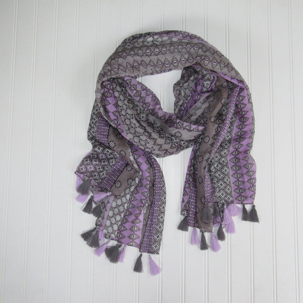 Mallory Fringed Stripes Scarf - Lavender