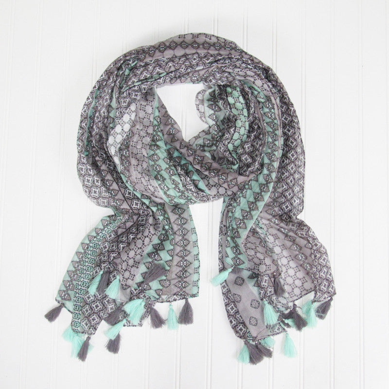 Mallory Fringed Stripes Scarf - Seafoam