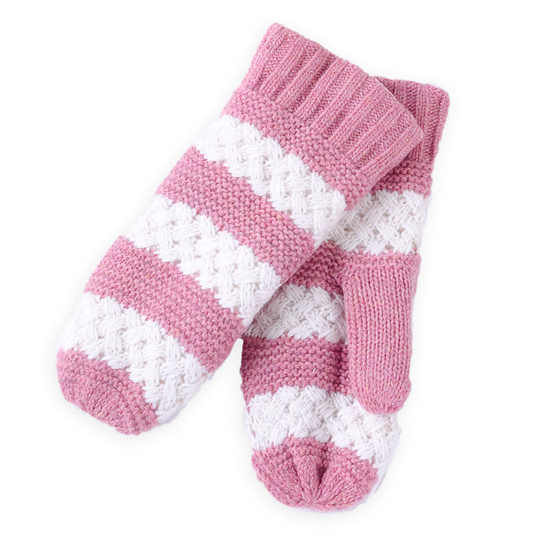 Faux Fur Lined Striped Mittens - Pink