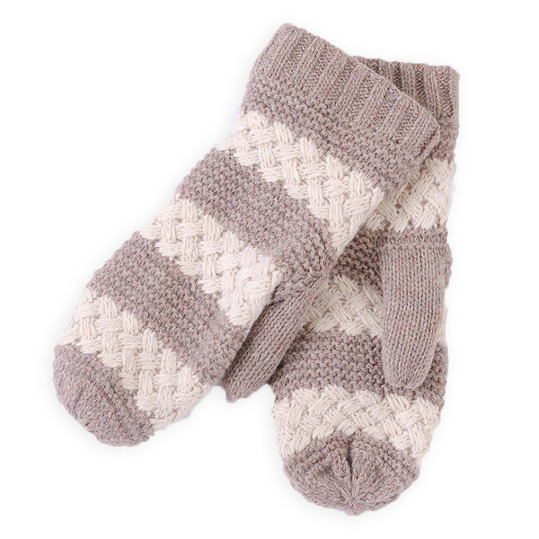 Faux Fur Lined Striped Mittens - Taupe