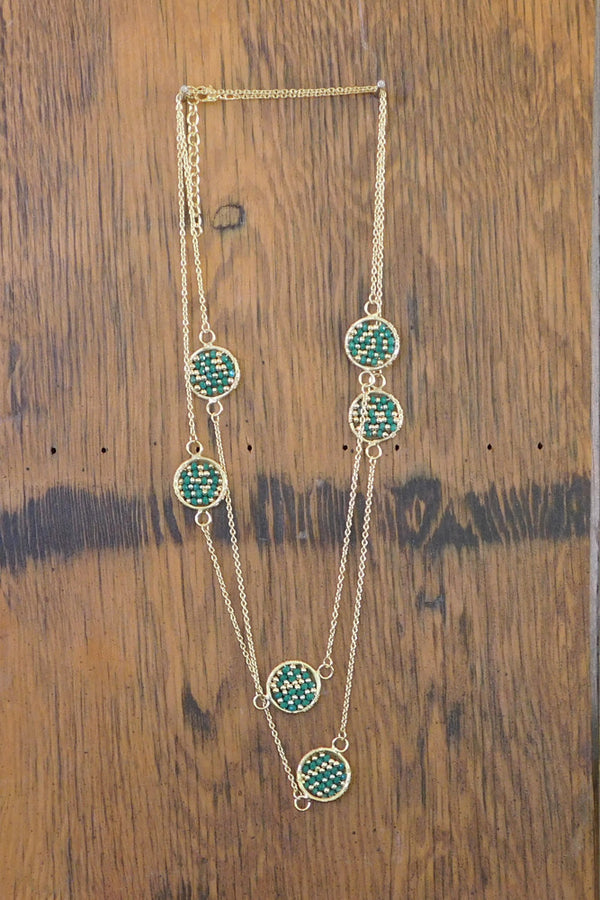 Woven Beads & Chain Necklace - Green