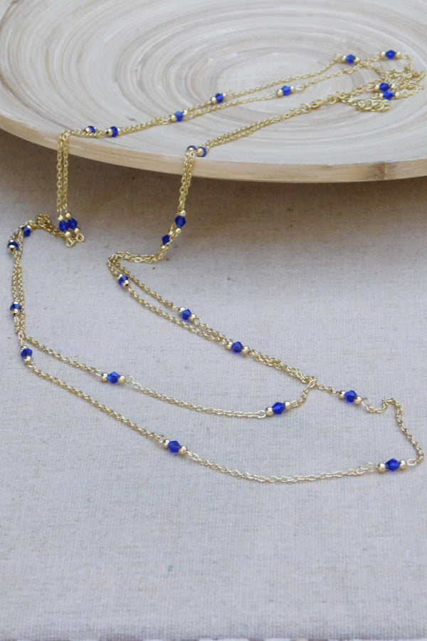 Classic Crystal and Chain Necklace - Blue