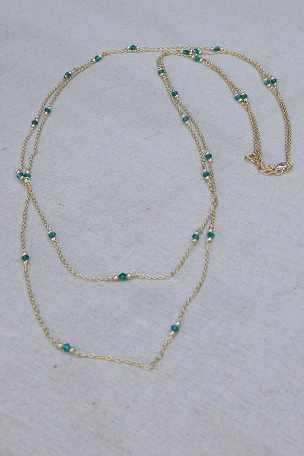 Classic Crystal and Chain Necklace - Green