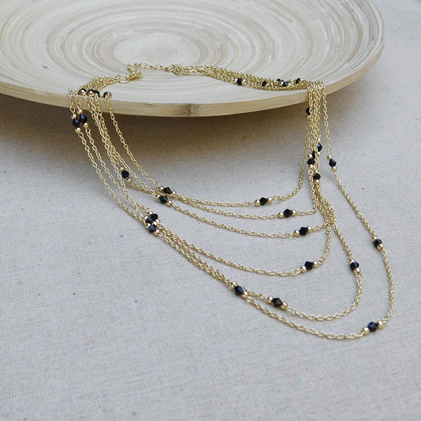 Multilayered Chain Necklace with Crystals - Gold/Black