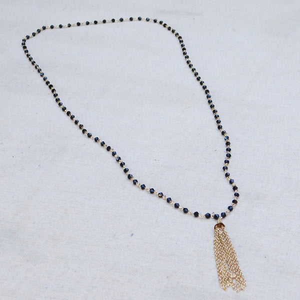 Crystals and Gold Chain Tassel Necklace - Black