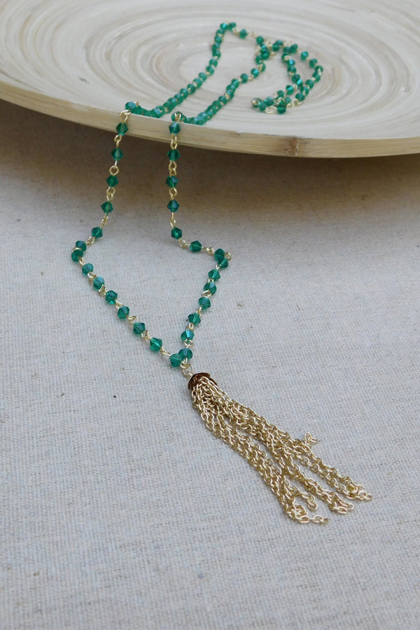 Crystals and Gold Chain Tassel Necklace - Green