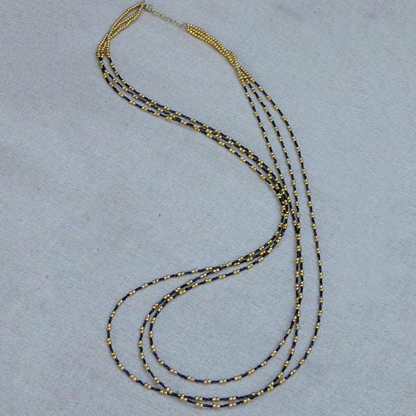 Long Elegant Gold and Black Beaded Necklace