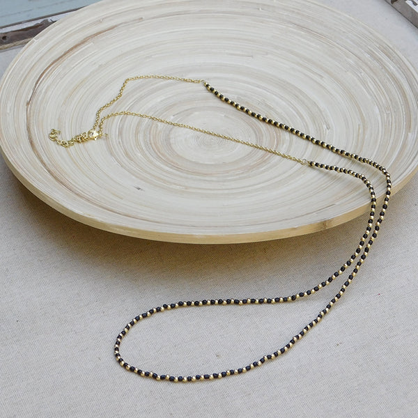 Simple Gold & Bead Chain Necklace - Black