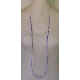 Simple Gold & Bead Chain Necklace - Blue