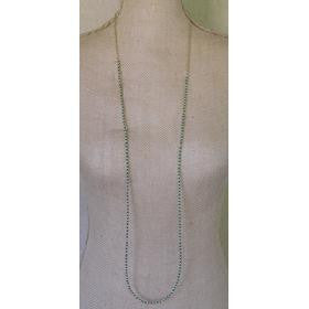 Simple Gold & Bead Chain Necklace - Green
