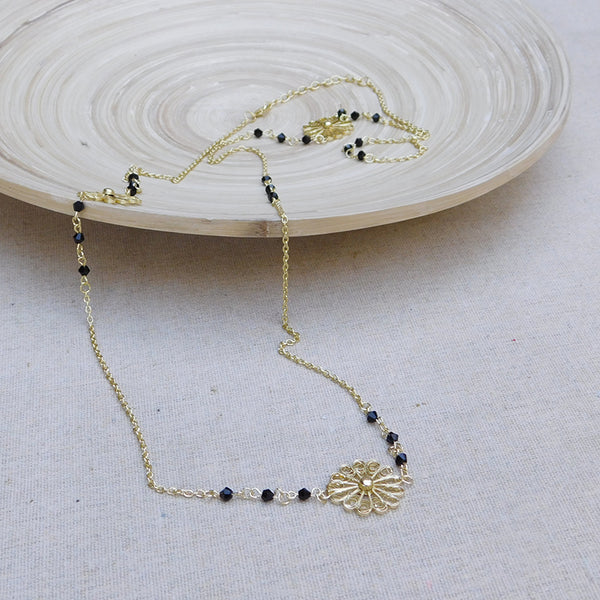 Intricate Flower Assymetrical Chain Necklace - Gold/Black