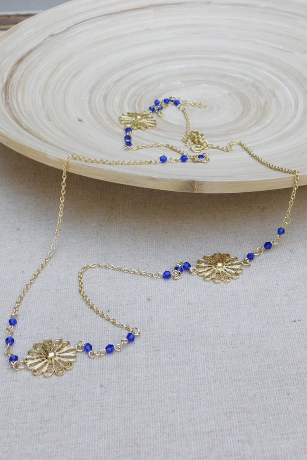 Intricate Flower Assymetrical Chain Necklace - Gold/Blue