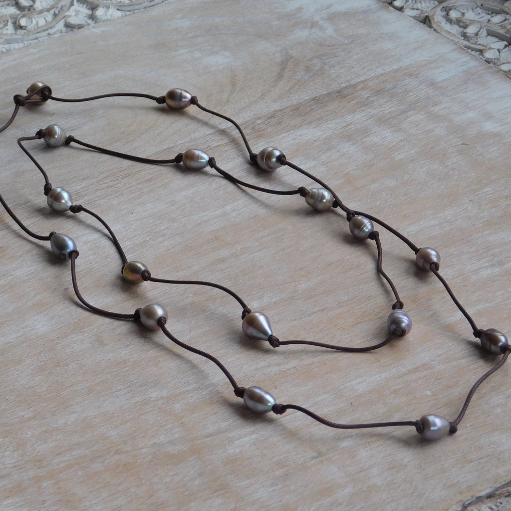 Long Faux Leather & Oval Pearl Necklace - Silver