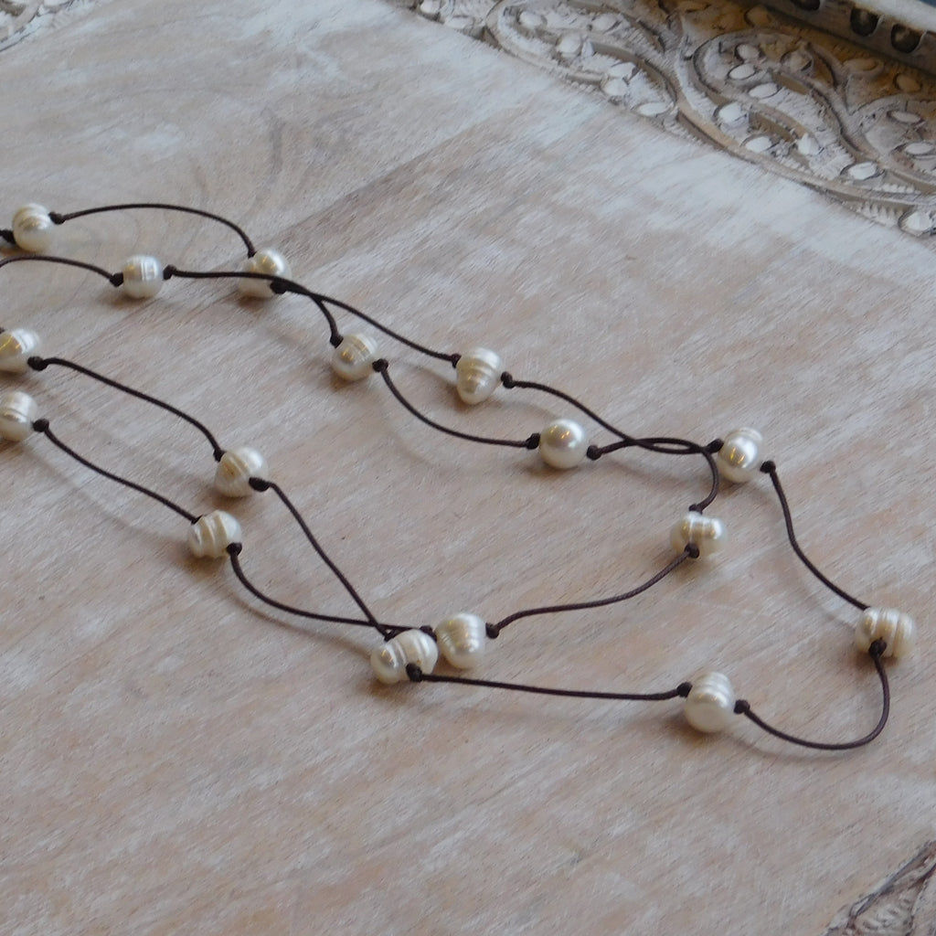 Long Faux Leather & Oval Pearl Necklace -White