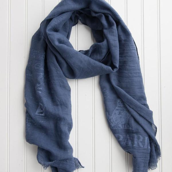 Eiffel Tower Paris Scarf - Navy