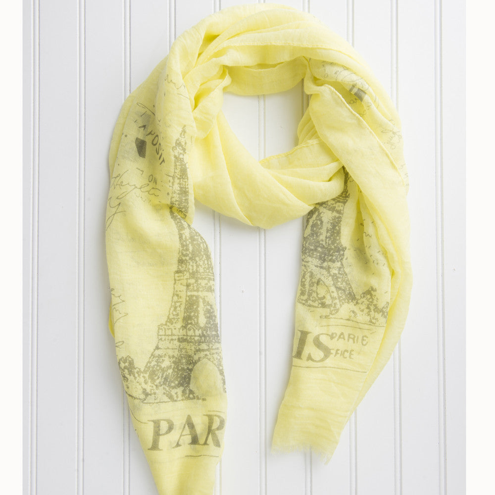 Eiffel Tower Paris Scarf - Yellow