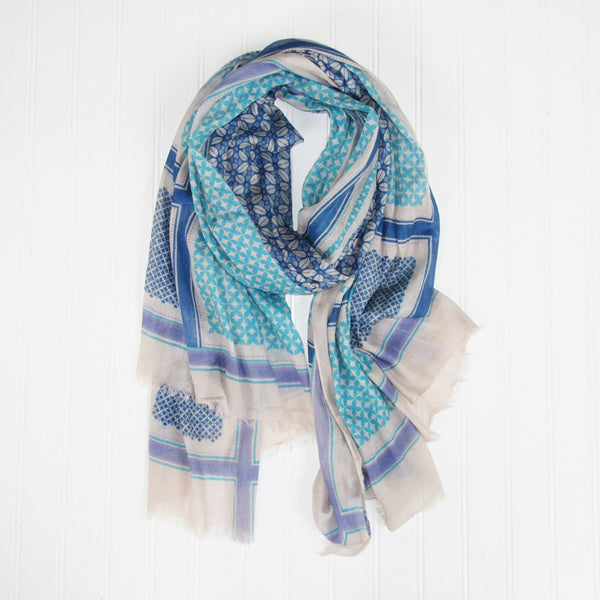 Townsend Pattern Scarf - Blue