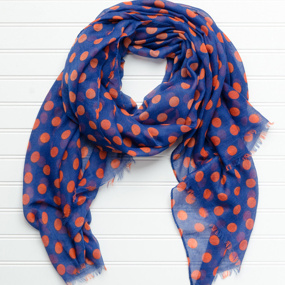 Large Traditional Polkadots-Blue Orange