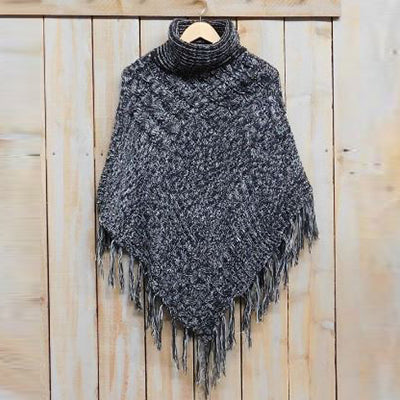 Patchwork Knit Poncho with Thick Fringe - Black White