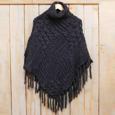 Patchwork Knit Poncho with Thick Fringe - Black