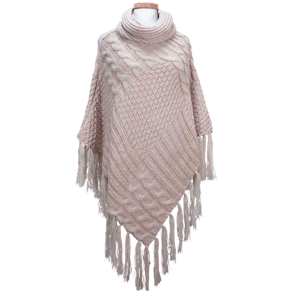 Patchwork Knit Poncho with Thick Fringe - Cream
