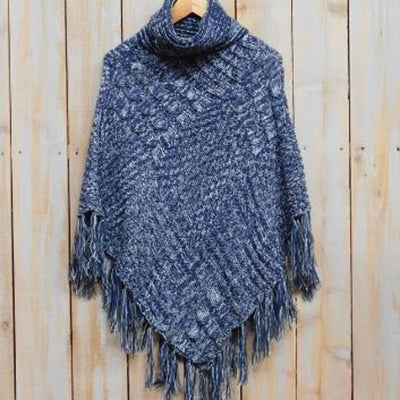 Patchwork Knit Poncho with Thick Fringe - Navy