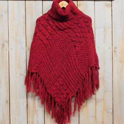 Patchwork Knit Poncho with Thick Fringe - Red