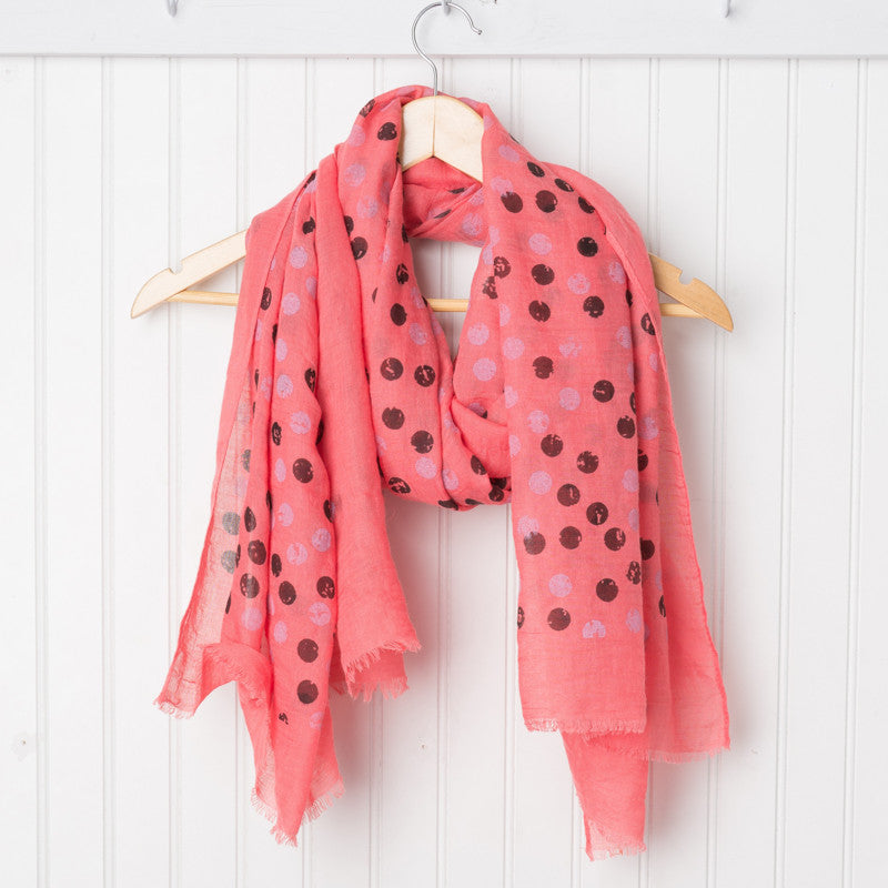 Artist's Polkadot Scarf - Coral