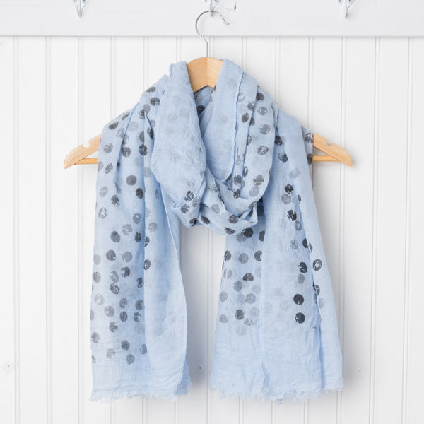 Artist's Polkadot Scarf - Light Blue